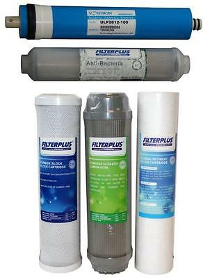 """100GPD Replacement Filter Kit 10"""" Sediment Carbon and Reverse Osmosis Membrane"""