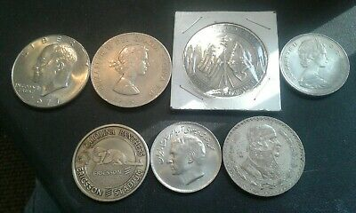 FIFTH  junk drawer lot.SEVEN biger coins set with bit of Silver.FREE SHIPPING.