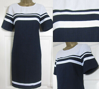 5c1abf9fb75 NEW Next Shift Tunic Dress Navy White Block Striped Linen Blend Summer Sun  6-22