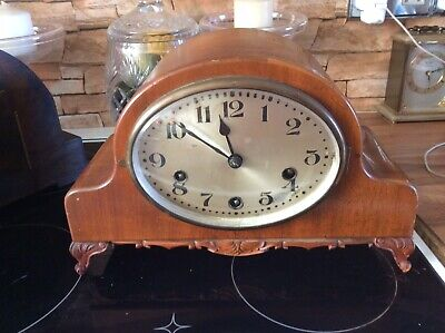 Carved Walnut / Fruitwood Wooden Mantle Clock/ Working/ Westminster Chimes