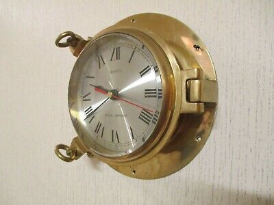 Large Vintage Royal Mariner Solid Brass Porthole Wall Clock ( Working )