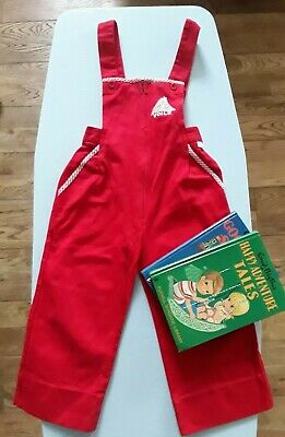 Vintage Baby Girls 70s Wide Leg/Flares Red Dungarees Age 12/18mths