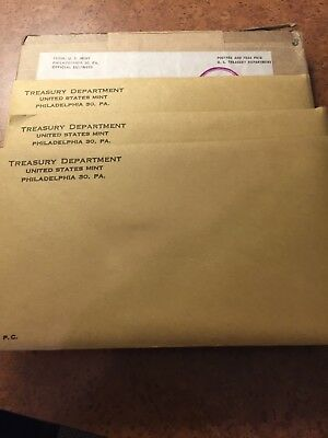 """Three Each 1963 Us Mint """"p"""" Proof Sets In Mint Sealed Envelopes"""