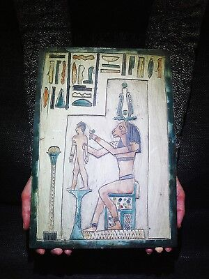 EGYPTIAN ANTIQUES ANTIQUITIES Khnum Moulding Ihy Stela Stele Relief 360-343 BC
