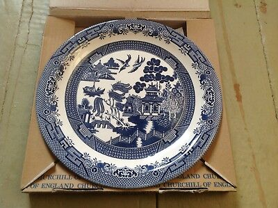 "Blue Willow Round Platter or Chop Plate, Churchill in original box, 12"" round"