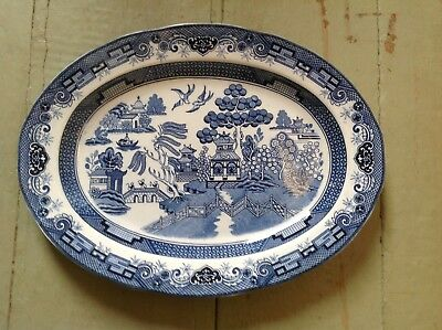 "Blue Willow Turkey Platter, Heritage Mint in original box, 18.25"" x 13.75"" oval"