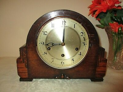 Art Deco H.a.c Westminster Chiming Mantle Clock ( Working )