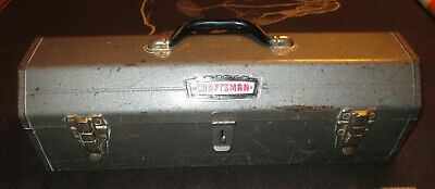 """Vintage Craftsman metal tool box ~20"""" long with tray Sturdy Construction"""