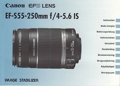 Canon EF-S 55-250mm f/4-5.6 IS Genuine Instruction Book, Manual, Instructions