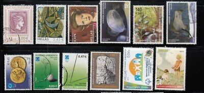 GREECE 12 Postally Used Euro Denominated Stamps Lot GRE AI