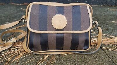 08423b45f4a0 VINTAGE FENDI STRIPED Canvas   Leather CrossBody bag -  58.00