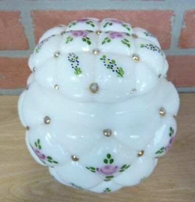 Antique Milk Glass Puffy Hand Painted Decorative Arts Large Powder Jar with Lid