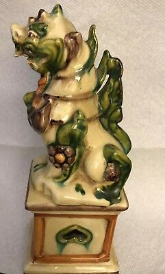 Rare Unique Antique Majolica Mythical Glazed Creature, MarkedF.157 Italy. H 9.5""