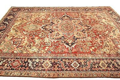"Antique Serapi Heriz Rug Persian Artistic ""Ralph Lauren Look"" Rust 8'x11' C.1900"