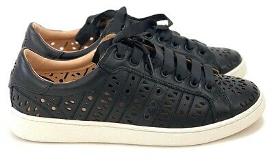 e38a23b384e UGG WOMEN'S BLACK Milo Perforated Soft Leather Sneakers Lace-Up Tennis Shoes