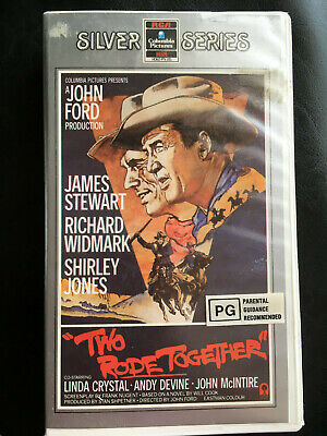 Rare TWO RODE TOGETHER Western Movie James Stewart VHS Tape Video RCA Columbia