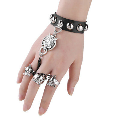 Leather Wolf Head Snap Button Studs Chains with Skull 3 Rings Bracelet Wristband