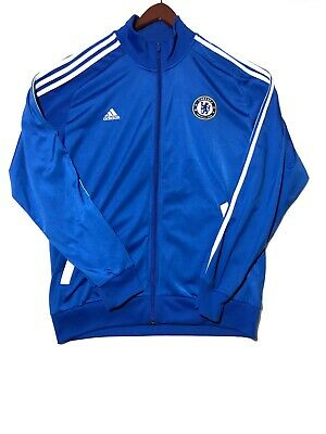 Men s Adidas Chelsea Football Club Warm-Up Jacket Full Zip SZ L Blue White 0415fc042