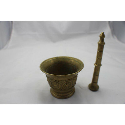 """Antique Chinese Mortar & Pestle Brass Metal China Apothecary Masher 2.5"""" x 3.25"""""""
