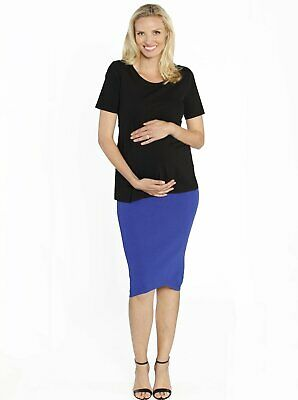 Maternity Black Top & Blue Stretchy Ribbed Skirt Outfit