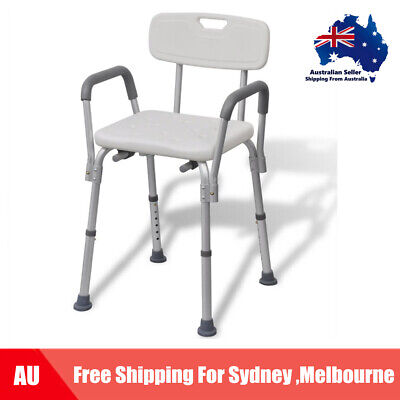 Shower Bath Chair with Backrest Elder Old Disability Aluminium White AU L2Q5