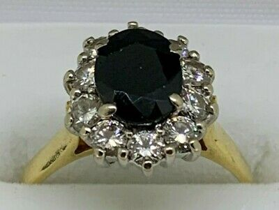 Ladies 18ct Yellow/White Gold Sapphire and Diamond Dress Ring