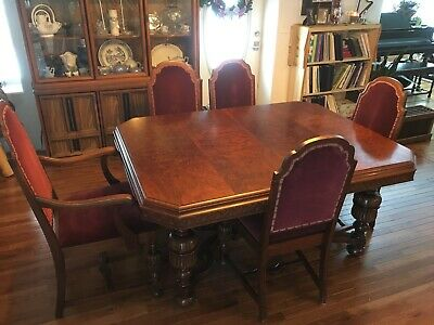 7 Piece Jacobean Style Antique Dining Table Set Furniture