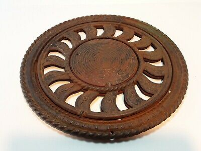 Antique circa 1910 Victorian cast iron Vent Register Floor Grate Cover ~ 16""