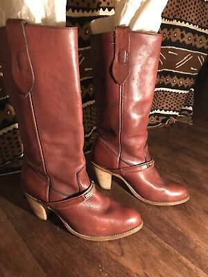 Vintage Capezio Boots 7.5 8 70s Tan Brown Red