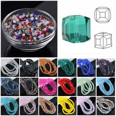 50pcs 3mm Cube Square Faceted Crystal Glass Loose Spacer Beads Jewelry Finding