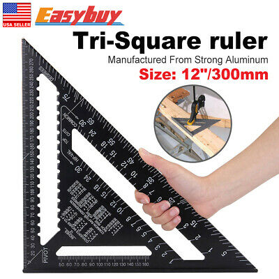 "LARGE Aluminum Roofing Quick Square 12"" Rafter Angle Frame Measuring Carpenter"