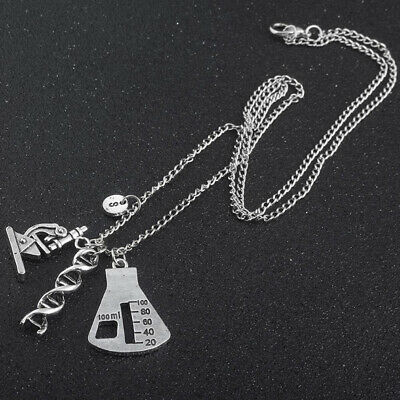 Science Instrument Microscope Triangle Bottle Pendant Necklace Jewelry shan