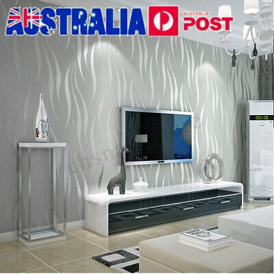 10m 3D Wave Stripe Non-woven Embossed Flocking Wallpaper Wall Paper Home