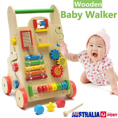Wooden Baby Walker Toddler Kid Push Activity Colourful Toys w/ Music