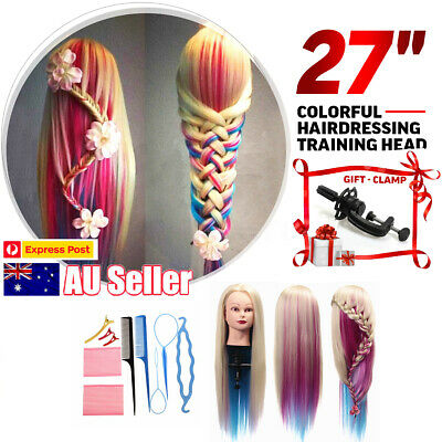 24'' Human Hair Hairdressing Training Mannequin Practice Head + Braid Set