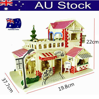 Handcraft Wooden Doll Coffee Shop Miniature Project 3D Kits Play Toy DIY