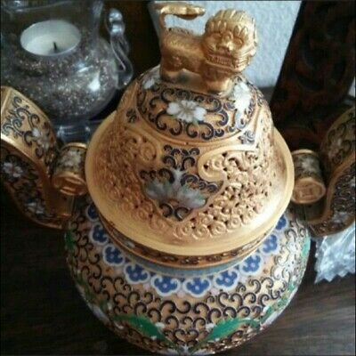 Beautiful Large Chinese Champleve Cloisonne Incense Burner Censer