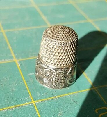 Antique Sterling Silver Thimble Grape leaf and vine Design