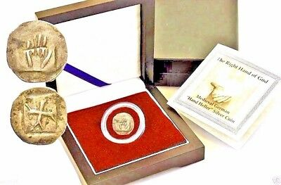 "The Right Hand of God Medieval German ""Hand Heller"" Silver Coin,Boxed,COA,Story"