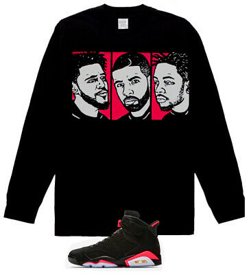 723762f8ac0f98 Long Sleeve J cole Drake Kendrick Lamar shirt air Jordan 6 Retro Black  Infrared