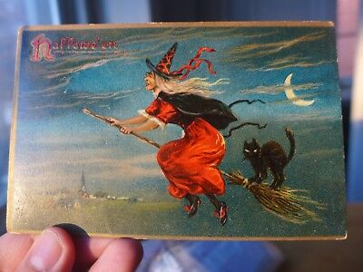Vintage Halloween Postcard! Selling Collection. Tuck. Series 150. Witch & Broom.
