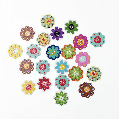 Hot 50PCs Natural Wooden Colorful Mixed Flowers Buttons Sewing DIY Craft Great
