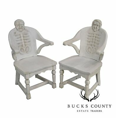 Antique Carved His & Hers Pair Chiropractors Skeleton Arm Chairs
