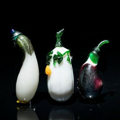 3x 19th Century Antique Overlay Glass Snuff Bottles in Vegetable Form