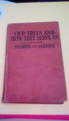 Our Trees and How They Serve Us 1925 vintage antique HC forests conservation OOP
