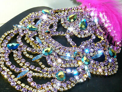 1960s JAW DROPPING AB *NECKLACE* SET BIB VINTAGE GLASS SIGNED BIJOUX MG  S462