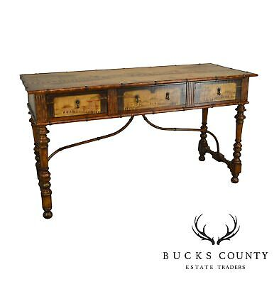 Chinese Hand Painted Large Faux Bamboo Hall Table or Sideboard