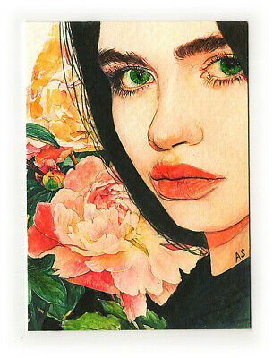 original watercolor painting portrait woman drawing modern art picture ACEO