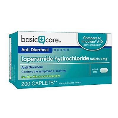 Anti-Diarrheal 2MG 200 Caplets by BASIC CARE - Control - GLUTEN FREE - EXP 10/19