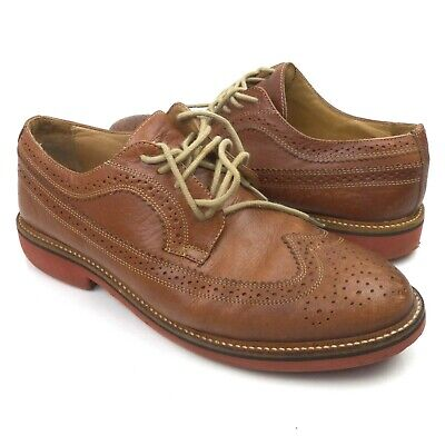 84c844546b6 Nordstrom 1901 Men s Leather Shoes Brown Kyle Longwing Wingtip Size 8.5M